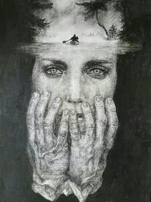 """Anna Wright, 17, of Breaux Bridge is creating a collection of art pieces representing American Sign Language and those who rely on it for communication. This piece, """"Isolation,"""" won for Louisiana's 3rd District in the Congressional Art Competition."""