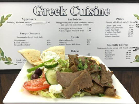 At Greek Cuisine in Camarillo, the Greek gyro plate comes with salad and diner's choice of orzo or rice.