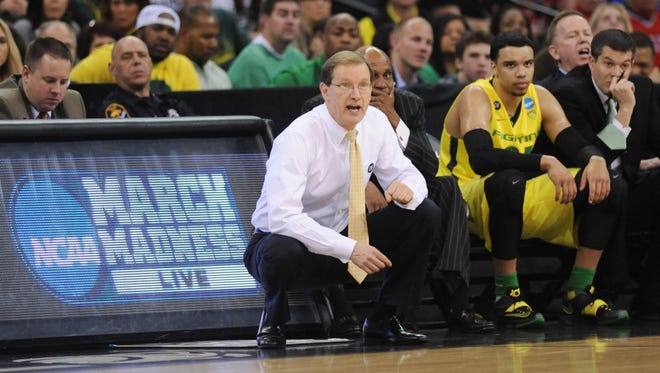 Mar 20, 2015; Omaha, NE, USA; Oregon Ducks head coach Dana Altman during the first half in the second round of the 2015 NCAA Tournament against the Oklahoma State Cowboys at CenturyLink Center. Mandatory Credit: Steven Branscombe-USA TODAY Sports