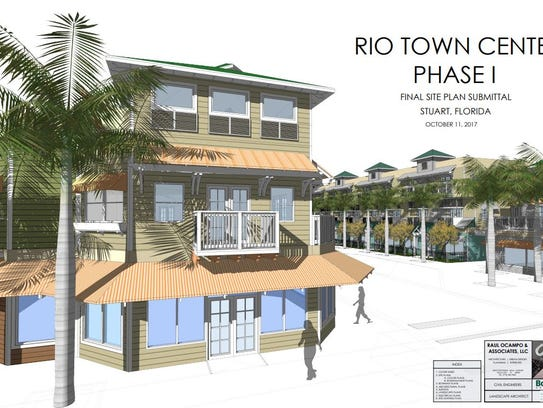 Renderings and maps show the proposed Rio Town Center.
