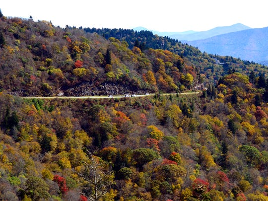 A past fall color season on the Blue Ridge Parkway between Mt. Pisgah and Waterrock Knob. This section of the parkway has reopened after cleanup from Hurricane Irma.