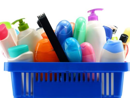 Toiletries body wash lotion shampoo Stock Image