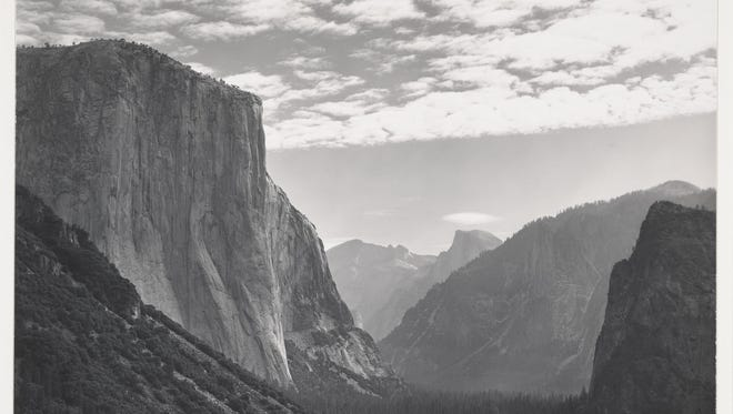 """""""Yosemite Valley, High Clouds, from Tunnel Esplanade, Yosemite National Park, California,"""" which Ansel Adams took around 1940, is on display at the Fenimore Museum in Cooperstown."""