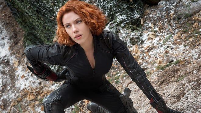 "Scarlett Johansson as Black Widow/Natasha Romanoff, in the film, ""Avengers: Age Of Ultron."""