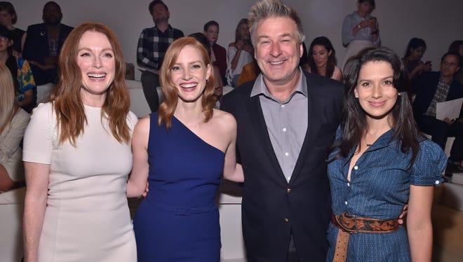 Julianne Moore, Jessica Chastain, Alec Baldwin, and Hilaria Thomas Baldwin attend Ralph Lauren during New York Fashion Week Sept. 17, 2015.