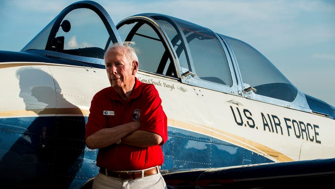 Gen. Charles Boyd poses for a portrait in front of his T-34 during the Gathering of Eagles barbecue on Thursday, Jun. 2, 2016 at Maxwell Air Force Base in Montgomery, Ala. Boyd was a prisoner of war in Vietnam from 1966 to 1973.