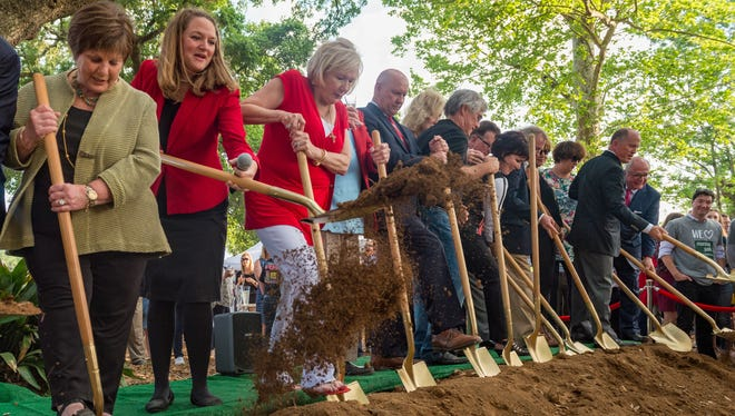 The official groundbreaking ceremony launching construction of Phase 1 of Moncus Park. Tuesday, March 27, 2018.