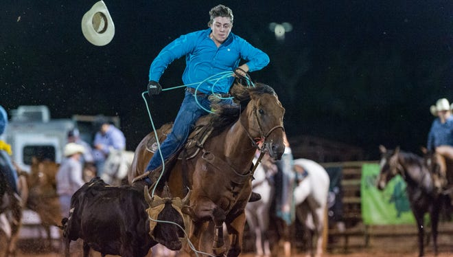 Luke Dubois competing in the Team Roping at the September Showdown CRA Rodeo at Cowboys Arena in Scott on Sept. 21.