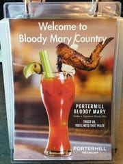 A picture of the Portermill Bloody, which is served with a full-sized chicken wing.