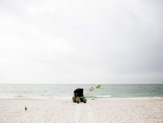 Solveig Birkeland stares at the Gulf of Mexico from