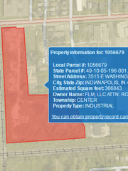 A public Marion County property tax website shows the eight-acre parcel just south of East Washington Street where Black Mountain is located. The pile of foundry sand, covering an area the size of two football fields and towering 50 feet above the surrounding property, is located at the bottom-right portion of the parcel owned by FLM LLC.