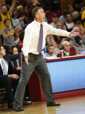 ASU head coach Bobby Hurley reacts to a call against  Creighton during the second half at Wells Fargo Arena in Tempe, Ariz. December 20, 2016.