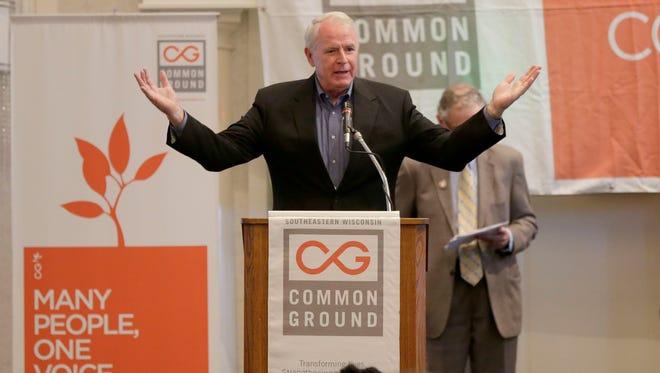 Milwaukee Mayor Tom Barrett speaks during the Common Ground anniversary celebration on Sunday.