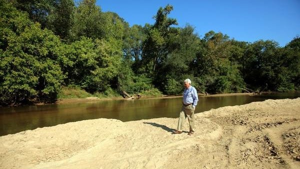 "The large natural sandbar along the banks of the First Broad River will be the site of one of the ""pocket parks"" planned as part of the proposed Lawndale greenway trail."
