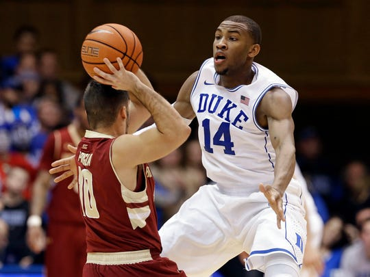 """Rasheed Sulaimon, right, was dismissed from the Duke basketball team by coach Mike Krzyzewski Sulaimon in January for being """"unable to consistently live up"""" to team standards. He was allegedly involved in two sexual assaults during the 2013-14 academic year at the school."""