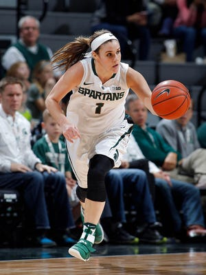 Michigan State's Tori Jankoska races up the court after a steal against Penn State Wednesday, Feb. 22, 2017, in East Lansing, Mich. Michigan State won 73-64.