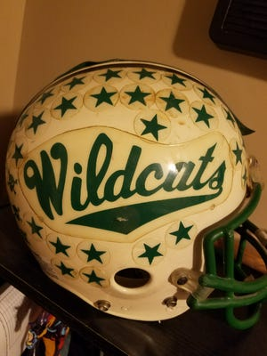 This is junior quarterback Mike Campbell's helmet from Harrison's 1988 football season.