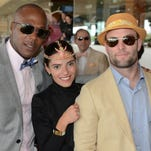 Linley Edwards, Sarah Brown and NFL star Wes Walker enjoy the 2014 Kentucky Derby at Churchill Downs. May 3, 2014.