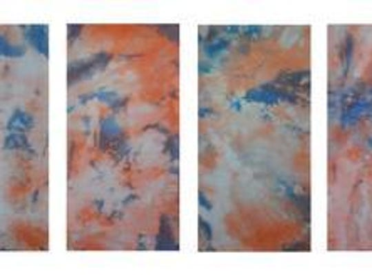 """Maria Giancola, """"Sunset,"""" fabric dye on canvas in 10"""