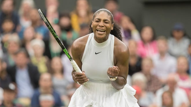Serena Williams (USA) reacts during her match against Christina McHale (USA) on day five of the 2016 The Championships Wimbledon.