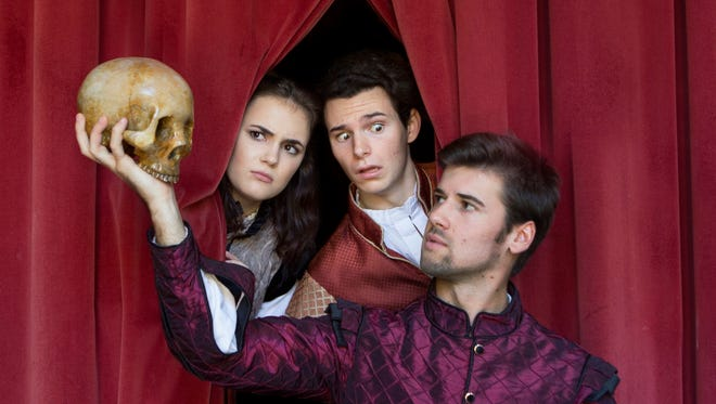 Franci Holland (Guildenstern), Blake Lafita (Rosencrantz) and Shane Howell (Hamlet) ask the burning question: To be or not to be?
