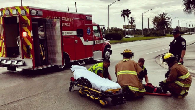 A female bicyclist was injured in a collision with a vehicle at Okeechobee Road and Virginia Avenue on Monday, April 23, 2018.