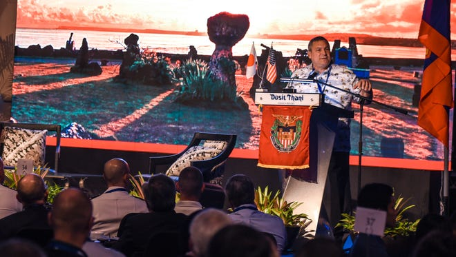 Gov. Eddie Calvo presents his opening remarks during the Society of American Military Engineers' Guam Industry Forum 2018 at the Dusit Thani Guam Resort in Tumon on Wednesday, Mar. 7, 2018.