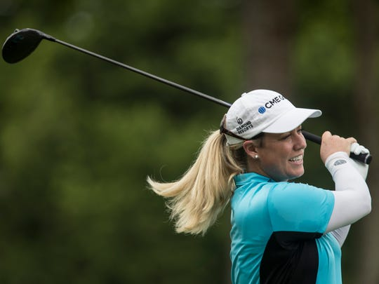 Brittany Lincicome takes a swing as she prepares for the Barbasol Championship.