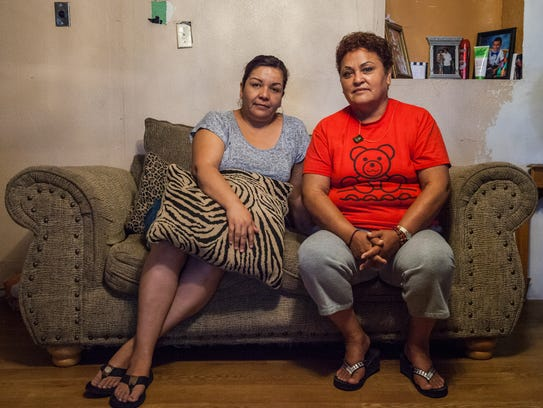 Tornillo, Texas residents Lorena Hernandez (left) and
