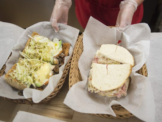 A pair of sandwiches is served at the Pickle Barrel on Wednesday, Feb. 14, 2018. The iconic Laurel Street sandwich shop is celebrating its 30th year.