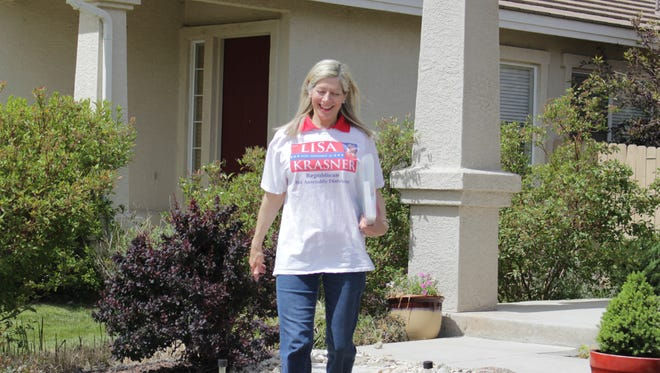 Assembly District 26 candidate Lisa Krasner walks her district in preparation for the June 14 primary.