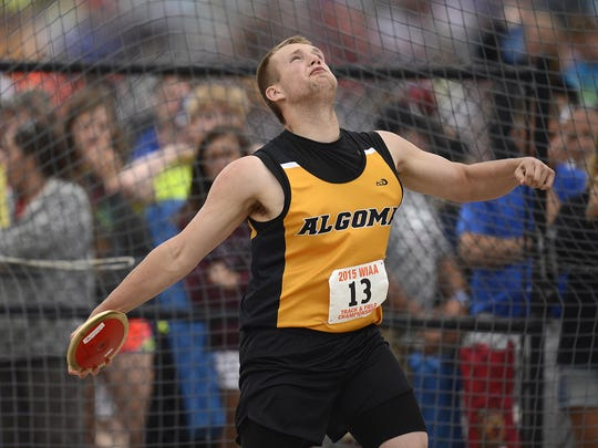 Algoma's Devin Kostichka competes in the Division 3 discus during Friday's WIAA state track and field meet at Veterans Memorial Stadium Complex in La Crosse.