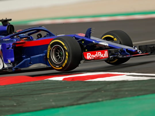 Toro Rosso driver Brendon Hartley of New Zealand steers his car during a Formula One pre-season testing session at the Catalunya racetrack in Montmelo, outside Barcelona, Spain, Monday, Feb. 26, 2018. (AP Photo/Francisco Seco)