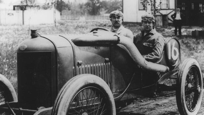 Rene Thomas (left) was the winner of the 1914 Indianapolis 500 while Robert Laly served as his riding mechanic.