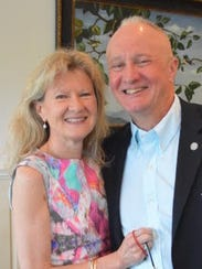 """Brig. Gen. Kenneth """"Ed"""" Brandt is seen with his wife Jane in a photo provided by his campaign as part of a press release announcing his candidacy for Delaware's lone seat to the U.S. House of Representatives."""