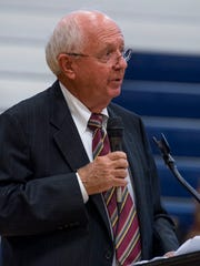 Interim State School Board Superintendent Ed Richardson discusses the school system intervention during a meeting of the Montgomery County School Board at Park Crossing High School in Montgomery, Ala. on Thursday September 28, 2017.