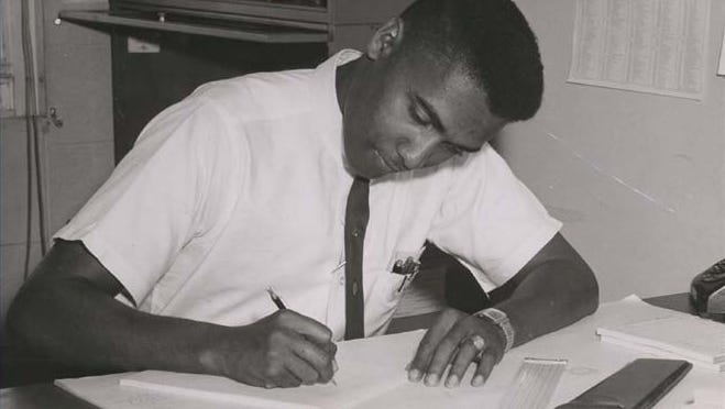 George Gregory, the former 746th Test Squadron Operations Flight chief, works on a calculation using a slide rule to provide instrumentation support for a rocket sled project in 1962 at his office at the High Speed Test Track. Gregory worked at Holloman's test track for the first eight of his 50 years with the 46th Test Group. While working at the test track, one of Gregory's first assignments was to provide instrumentation support for the evaluation of the Atlas Missile's inertial navigation system.