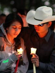 More than 200 people attended last year's candlelight vigil for Audi Santistevan at Luna County Courthouse Park.