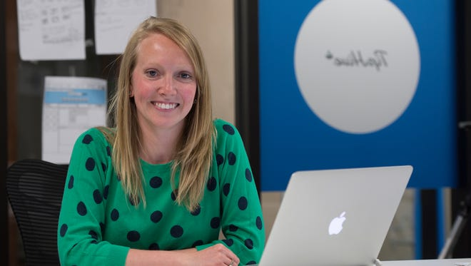 Madiken Scholl, who is the co-founder of the information curating app TipHive, in her downtown Greenville office on Friday, April 22, 2016.