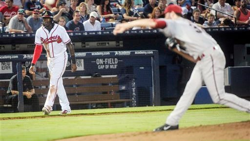 Cameron Maybin, left, collected his 49th and 50th RBIs for the Atlanta Braves on Friday night.