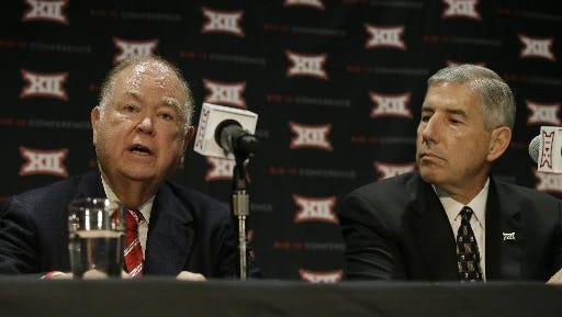 Oklahoma President David Boren (left) speaks as Big 12 Commissioner Bob Bowlsby looks on during a news conference after The Big 12 Conference meeting in Grapevine, Texas, Monday, Oct. 17, 2016. The Big 12 Conference has decided against expansion from its current 10 schools after three months of analyzing, vetting and interviewing possible new members.