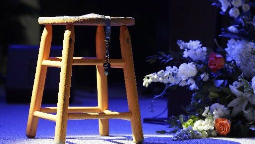 Pat Summitt's stool and whistle, from the celebration of her life at Thompson-Boling Arena