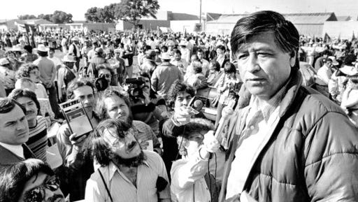 FILE - In this March 7, 1979, file photo, United Farm Workers President Cesar Chavez talks to striking Salinas Valley farmworkers during a large rally in Salinas, Calif. California and several other states will honor Chavez by closing schools and state offices Friday, March 31,. 2017, the 90th anniversary of the birth of a man who went from a grape and cotton picker to an enduring hero for laborers, Latinos and justice seekers of all kinds. Farmworkers in four states plan to march Saturday and Sunday in honor of Chavez, who died in 1993, and in protest of President Donald Trump's immigration policies.