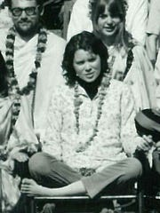 Prudence Farrow in India in 1968, while studying transcendental