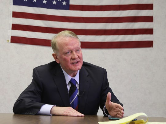 Here, Rep. Leonard Lance being interviewed in Lance's Westfield campaign office.