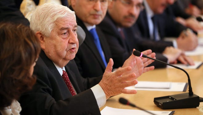 Syrian Foreign Minister Walid Muallem speaks during a meeting with Russian Foreign Minister Sergei Lavrov (not pictured) in Moscow on Sept. 10.