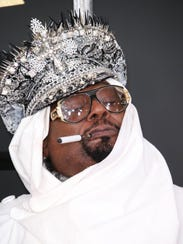 George Clinton arrives at the 59th annual Grammy Awards