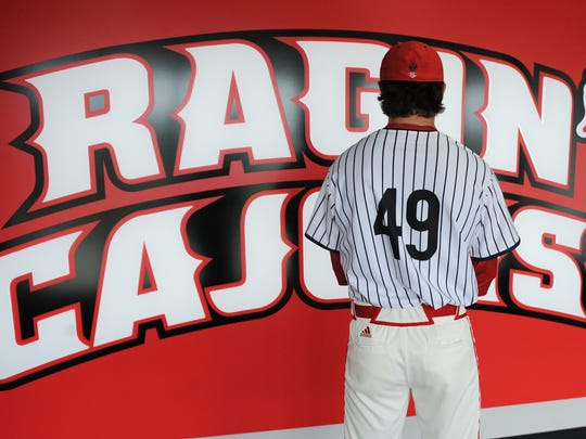 The back of jerseys that the UL baseball team will wear Friday night then auction off honor Ron Guidry with retired New York Yankees No. 49
