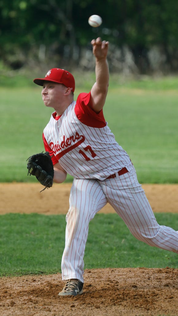 North Rockland's Sean Liquori (17) was lead pitcher against Suffern High School during game at Rockland High School in Thiells on May 14, 2018.