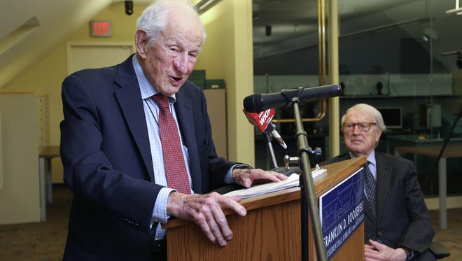 Robert Morgenthau speaks at the Franklin D. Roosevelt Presidential Library and Museum in Hyde Park, as they announced the launch of the Henry Morgenthau, Jr. Holocaust Collections April 24, 2017. At right is Library Trustee Ambassador William J. vanden Heuvel.